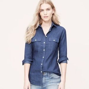 LOFT Chambray Denim Long Sleeve Button Down